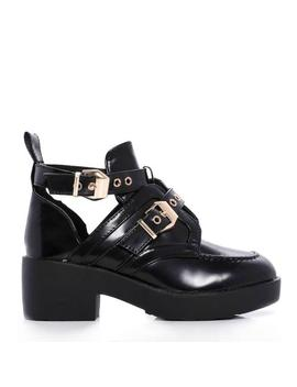 Black Shine Platform Gold Buckle Cut Out Ankle Boots by Koi Footwear