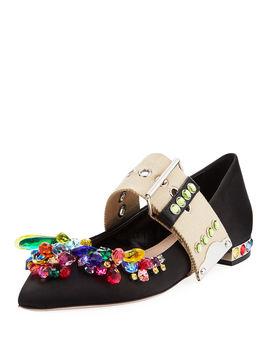 Miu Miu Multicolor Jeweled Satin Skimmer, Black Msrp $950.00 Size 38 by Miu Miu
