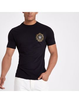 T Shirt Slim Noir Avec écusson Brodé by River Island