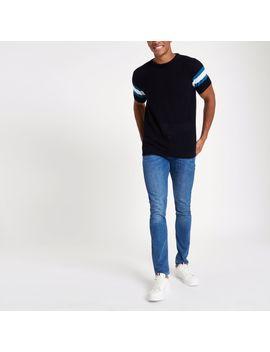 T Shirt Slim En Maille Bleu Marine à Manches Rayée by River Island