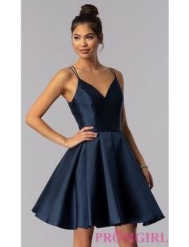Double Strap V Neck Alyce Short Homecoming Dress by Promgirl