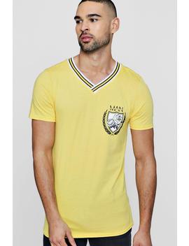 T Shirt à Côtes Sportives Universitaire Man by Boohoo