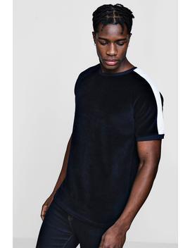 T Shirt En Velours Empiècement Avec Ourlet Arrondi Contrasté by Boohoo