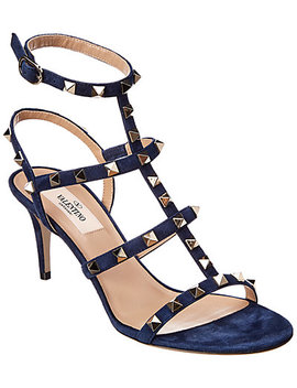 Valentino Rockstud Suede Cage Sandal by Valentino