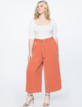 Wide Leg Culotte Pant With Belt by Eloquii