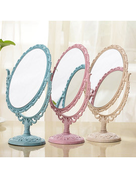 Desktop Cosmetic Mirror Flower Embossing Ellipse Makeup Mirrors 3 Colors by Newchic