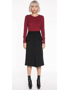 Split Front A Line Skirt by Cue
