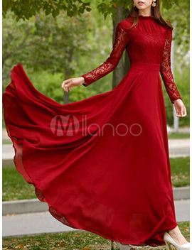 Red Long Dress Long Sleeve Maxi Lace Dresses Long Prom Dress by Milanoo
