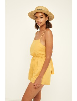 Perfect Stranger Tie Back Playsuit Yellow by Universal Store
