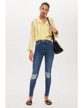 Tiefblaue Jamie Jeans Im Destroyed Look Tall Größe by Topshop