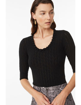 Merino Scoop Neck Pullover by Rebecca Taylor