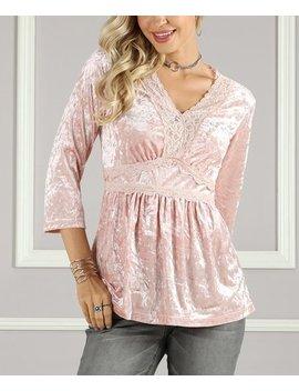 Pink Lace Trim Empire Waist Tunic   Women &Amp; Plus by Zulily