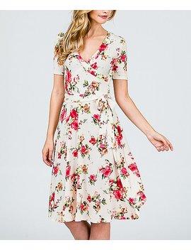 White &Amp; Pink Floral Tie Waist Surplice Dress   Women by Zulily