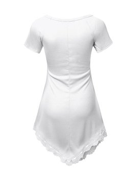 White Lace Trim Asymmetrical Tunic   Women by Doublju