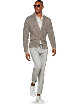 Brown Shawl Collar Cardigan by Suitsupply