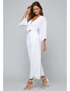Front Tie Crop Jumpsuit by Bebe