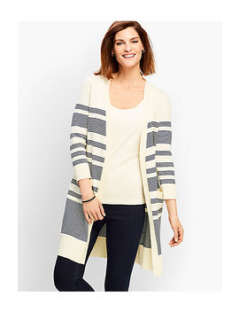 Long Pima Cotton Stripe Cardigan by Talbots