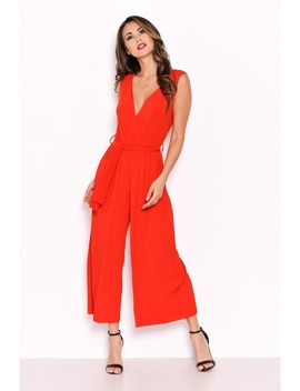 Red Culotte Pleated Tie Waist Jumpsuit by Ax Paris