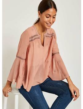 Dusty Pink Embroidered Top by Mint Velvet