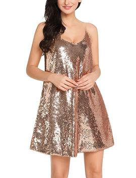Champagne Sequins Slip Dress by Lookbook Store