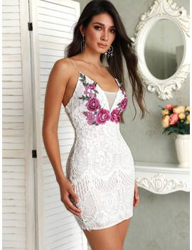 Embroidered Lace Crochet Overlay Mini Slip Dress by Ivrose