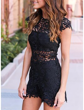 Sexy Cap Sleeve Hollow Out Lace Mini Dress by Ivrose