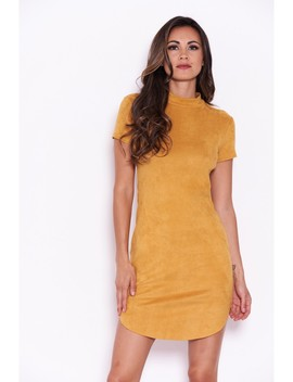 Mustard Faux Suede Mini Dress With High Neck by Ax Paris