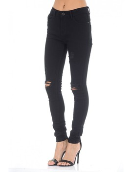 Black Distressed Ripped Knee Jeans by Ax Paris