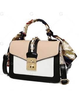 Metallic Color Block Scarf Handbag by Gamiss