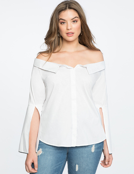 Off The Shoulder Collared Shirt by Eloquii