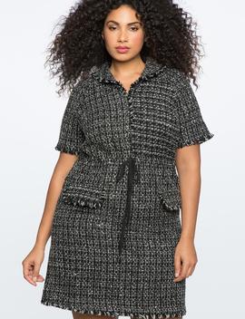 Trimmed Tweed Drawstring Waist Dress by Eloquii