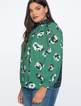 Mixed Print Top by Eloquii
