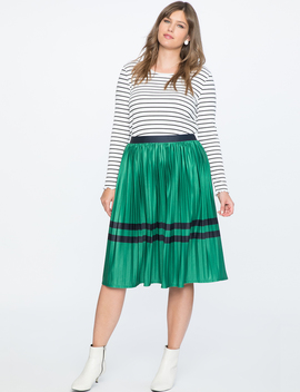 Sunburst Pleated Midi Skirt With Block Stripes by Eloquii