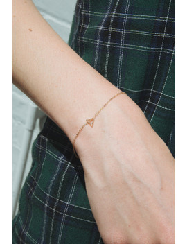 Gold Hollow Triangle Bracelet by Brandy Melville