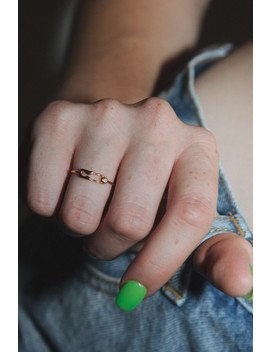 Gold Rhinestone Safety Pin Ring by Brandy Melville