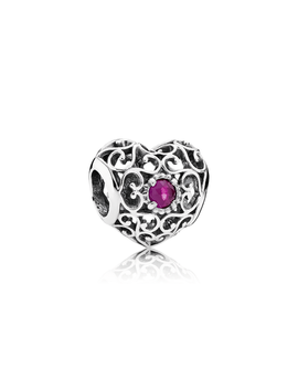 July Signature Heart Charm, Synthetic Ruby by Pandora