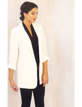 Oversized Boyfriend Fit Longline Three Quarter Sleeve Crepe Blazer In Soft Cream by One Nation Clothing