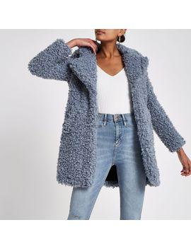 Blue Faux Fur Swing Coat by River Island