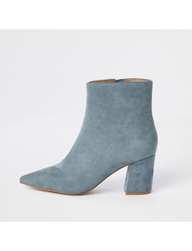 Light Blue Pointed Block Heel Boots by River Island