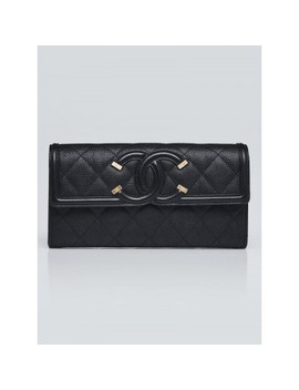 Black Quilted Grained Calfskin L Gusset Flap Wallet by Chanel