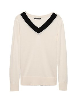 Silk Cashmere Varsity V Neck Sweater by Banana Repbulic