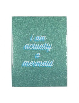 'i Am Actually A Mermaid' Green Glitter Lined Notebook by Paperchase