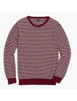 Cotton Piqué Crewneck Sweater In Stripe by J.Crew