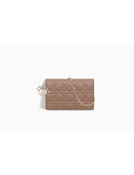 Lady Dior Wallet On Chain Pouch In Pink Cannage Lambskin by Dior