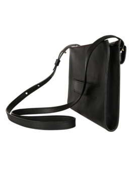 The Crossbody Black Leather Clutch by Velé