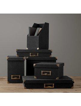Linen Office Storage Accessories Black by Restoration Hardware