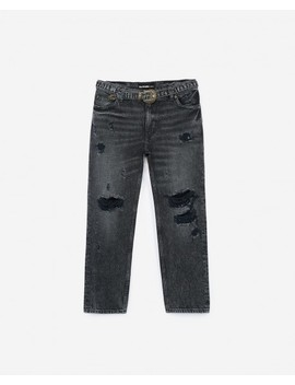 Faded Black Nelly Jeans With Western Style Belt Faded Black Nelly Jeans With Western Style Belt by The Kooples