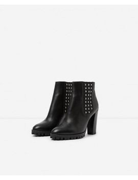Black Heeled Leather Ankle Boots With Studs Black Heeled Leather Ankle Boots With Studs by The Kooples