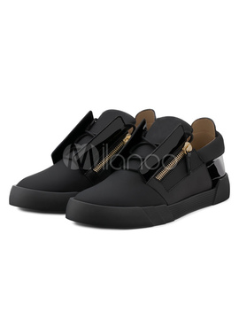 Black Skate Shoes Men's Round Toe Zipper Detail Sneakers by Milanoo