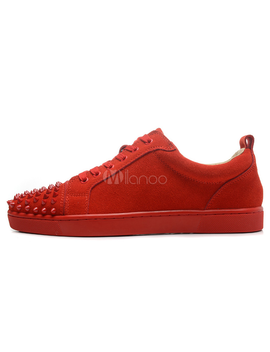 Men Skate Shoes Suede Red Round Toe Lace Up Sneakers by Milanoo